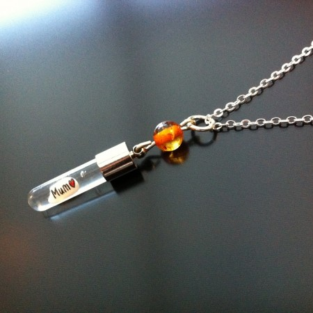 Amber Rice Charm on Chain