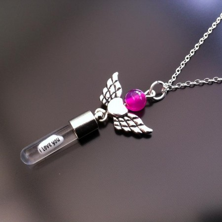 angel heart wings pink agate rice charm on chain