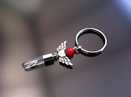 angel heart wings red coral rice charm key ring