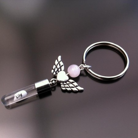 angel heart wings rose quartz rice charm key ring