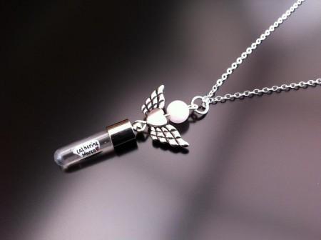 angel heart wings rose quartz rice charm on chain