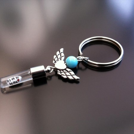 Rice Charm key ring - turquoise - angel heart wings