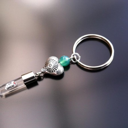 antique heart green agate rice charm key ring