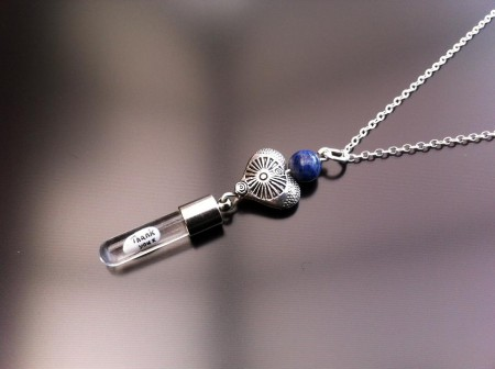 antique heart lapis rice charm on chain