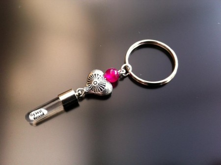 antique heart pink agate rice charm key ring