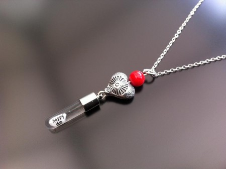 antique heart red coral rice charm on chain