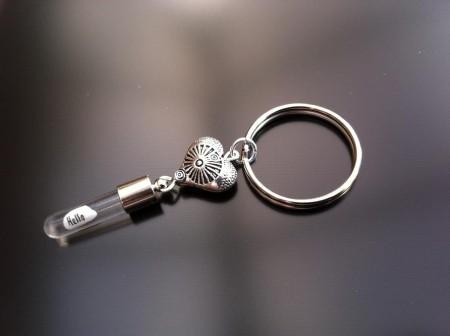 antique heart rice charm key ring