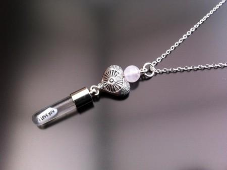 antique heart rose quartz rice charm on chain