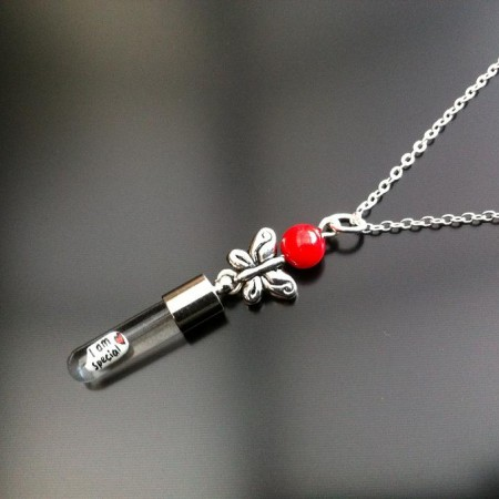 butterfly silver rice red coral rice charm on chain