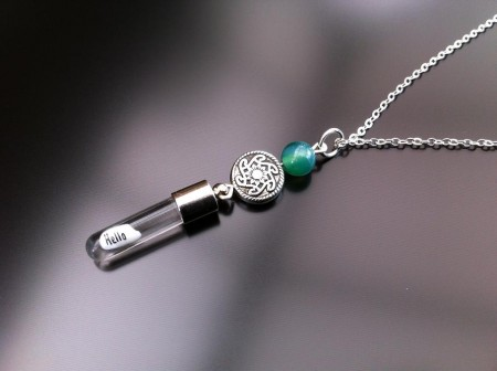 celtic green agate rice charm on chain