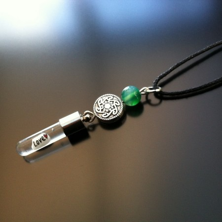 celtic green agate rice charm on cord
