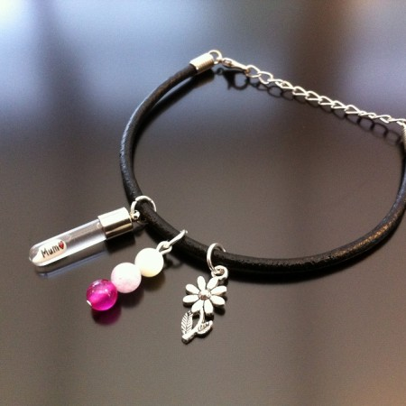 Rice Charm on Leather Bracelet