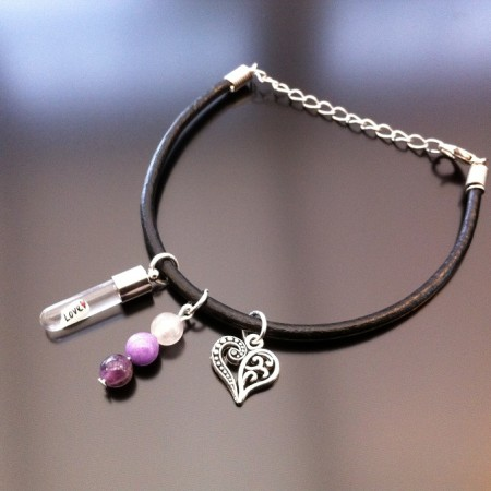 rice charm leather bracelet with heart