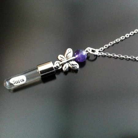 silver butterfly amethyst rice charm on chain