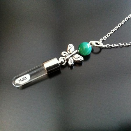 silver butterfly green agate rice charm on chain