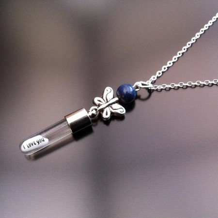 silver butterfly lapis rice charm on chain