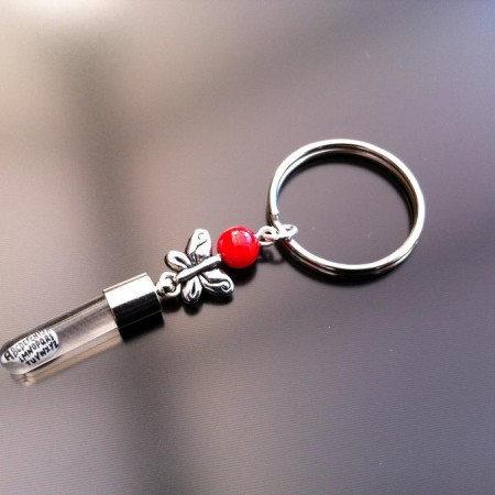 silver butterfly red coral rice charm key ring