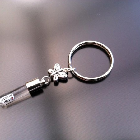 silver butterfly rice charm key ring