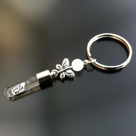 Rice Charm key ring - rose quartz - butterfly