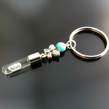 Rice Charm key ring - turquoise - butterfly