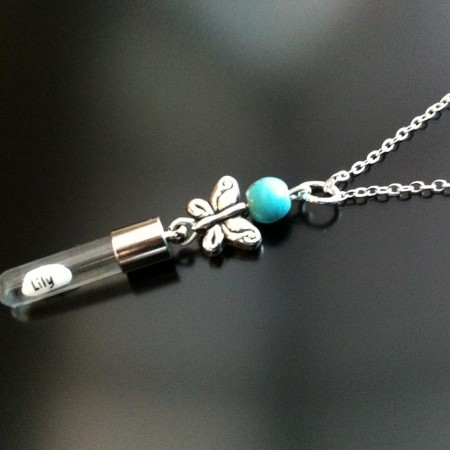silver butterfly turquoise rice charm on chain