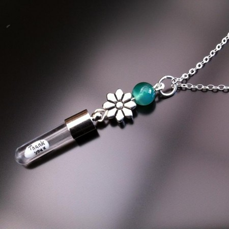 silver flower green agate rice charm on chain