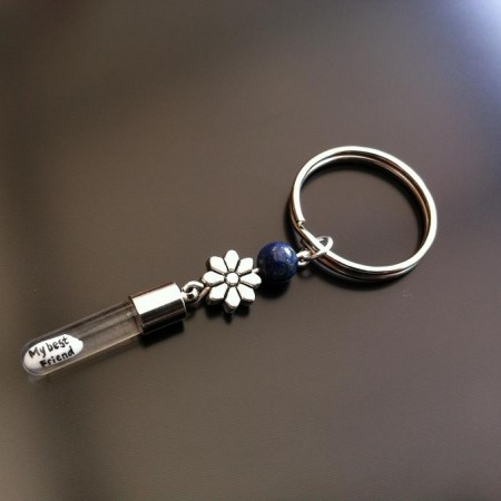 silver flower lapis rice charm key ring