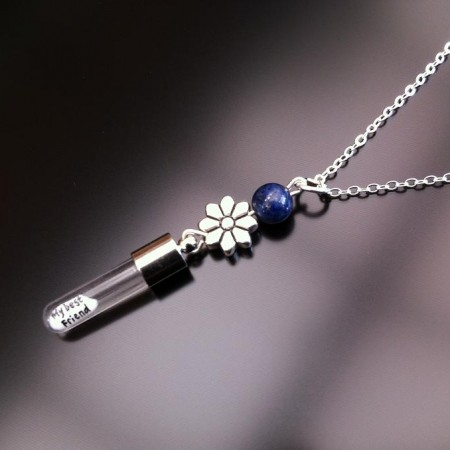 silver flower lapis rice charm on chain