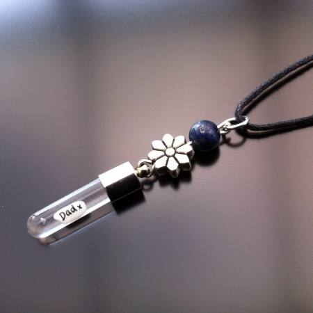 silver flower lapis rice charm on cord