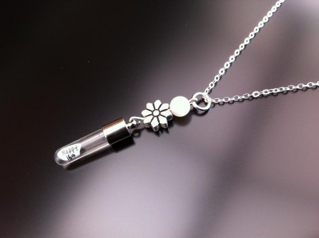 silver flower mother pearl rice charm on chain
