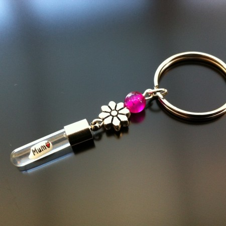 silver flower pink agate rice charm key ring