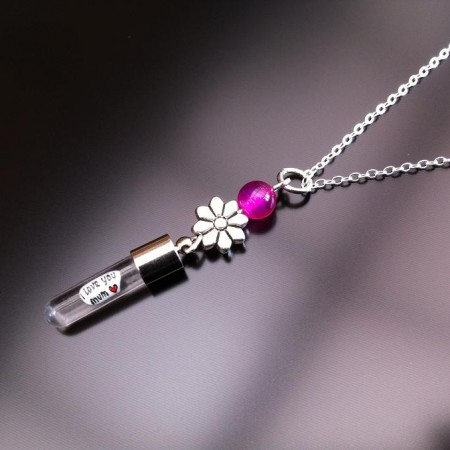 silver flower pink agate rice charm on chain