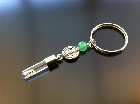 spiral green agate rice charm key ring