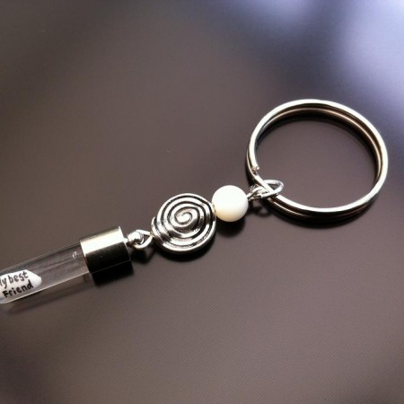 spiral mother of pearl rince charm key ring
