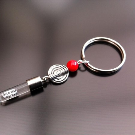 spiral red coral rice charm key ring