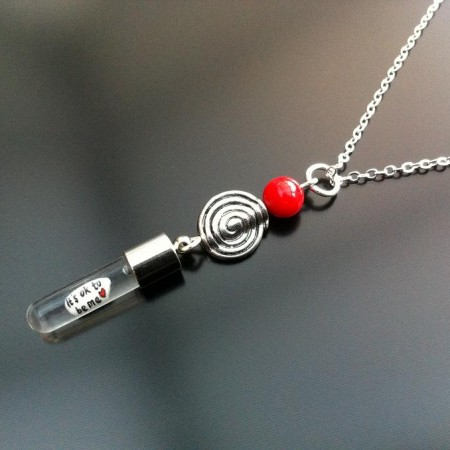 spiral red coral rice charm on chain