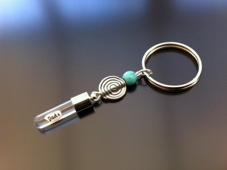 Rice Charm key ring - turquoise - spiral