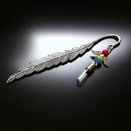 bookmark angel rice charm with rainbow glass and red coral gem