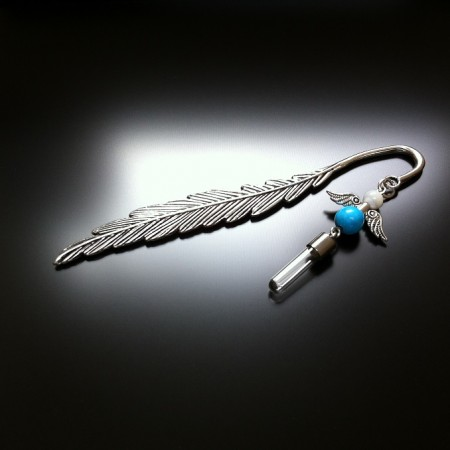 bookmark angel rice charm with turquoise howlite and mother of pear gems