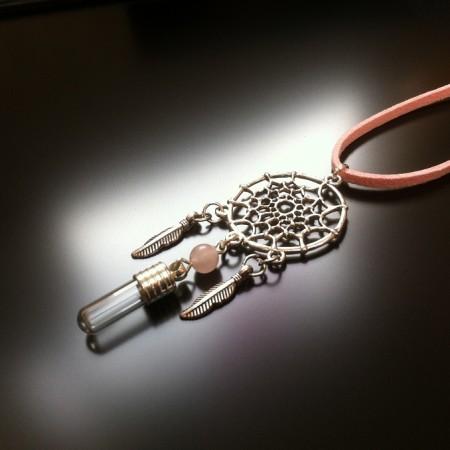dream catcher - rice charm - rose quartz gem