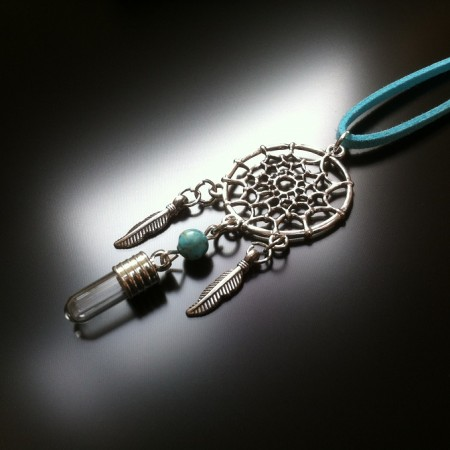 dream catcher - rice charm - turquoise gem