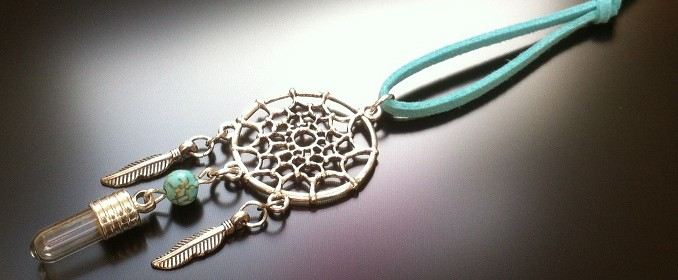 dream catcher - rice charm - turquoise gem - smaller image