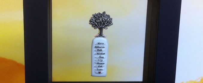 rice writing in frame - family tree charm