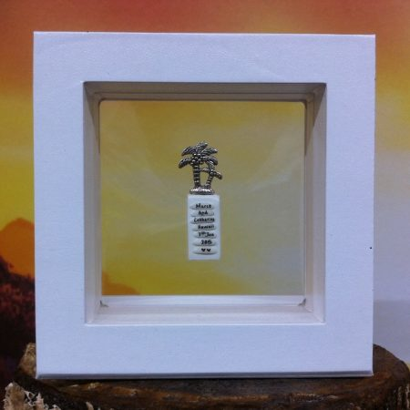 rice writing in frame - tropical palm tree charm