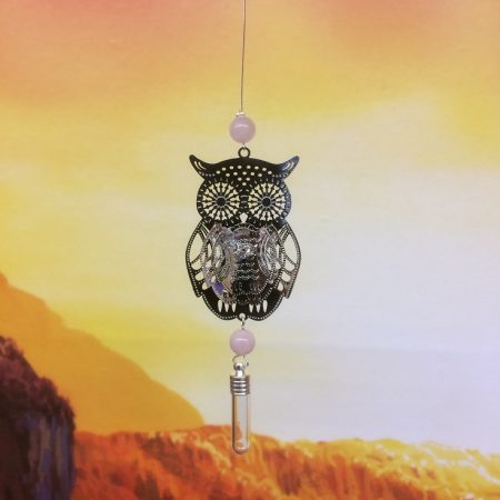 Filigree Owl Dreamcatcher Rice Charm With Crystal