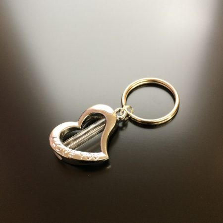 rice writing metal love you heart rice charm keyring