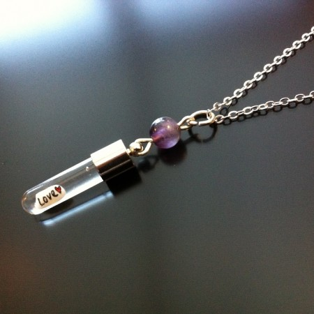 Amethyst Rice Charm on Chain