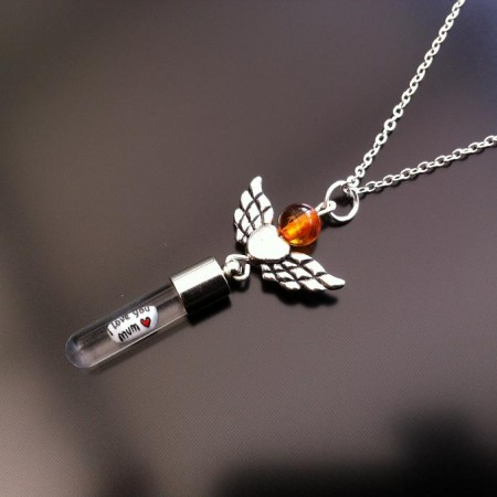 angel heart wings amber rice charm on chain