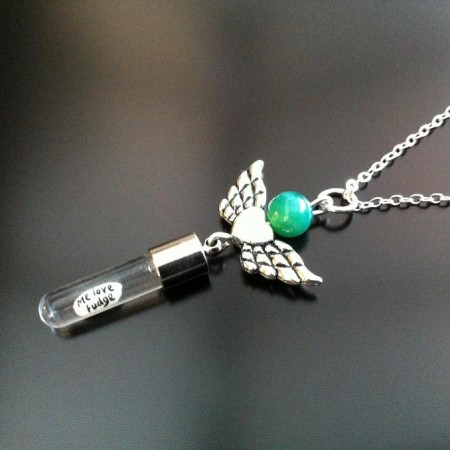 angel heart wings green agate rice charm on chain