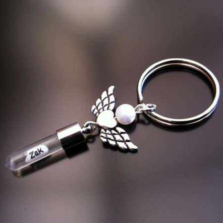 angel heart wings mother pearl rice charm key ring